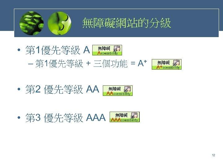 無障礙網站的分級 • 第 1優先等級 A – 第 1優先等級 + 三個功能 = A+ • 第