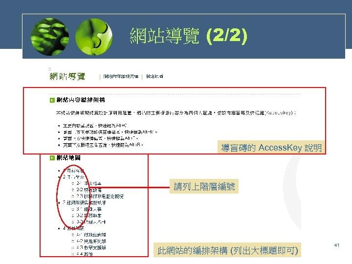網站導覽 (2/2) 導盲磚的 Access. Key 說明 請列上階層編號 此網站的編排架構 (列出大標題即可) 41
