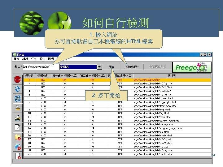 如何自行檢測 1. 輸入網址 亦可直接點選自己本機電腦的HTML檔案 2. 按下開始 54