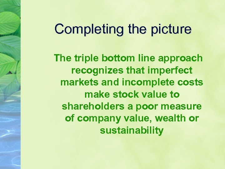 Completing the picture The triple bottom line approach recognizes that imperfect markets and incomplete