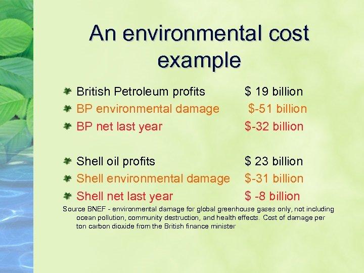 An environmental cost example British Petroleum profits BP environmental damage BP net last year