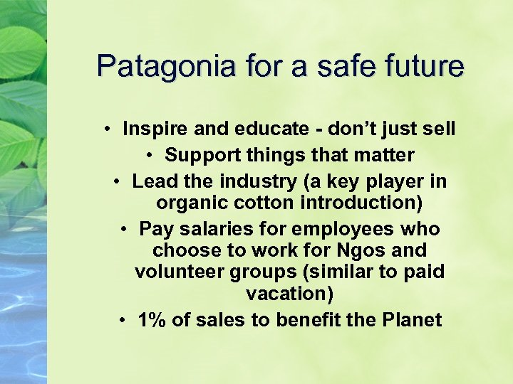 Patagonia for a safe future • Inspire and educate - don't just sell •