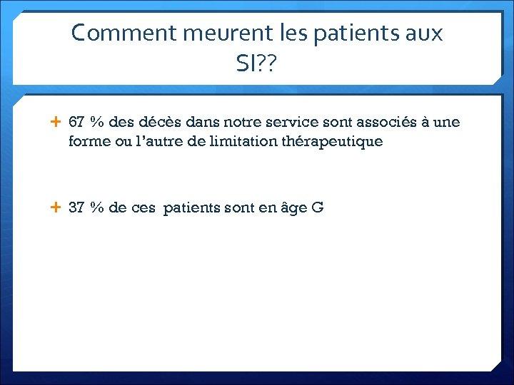 Comment meurent les patients aux SI? ? 67 % des décès dans notre service