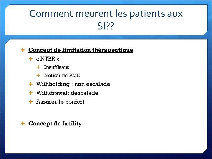 Comment meurent les patients aux SI? ? Concept de limitation thérapeutique « NTBR »