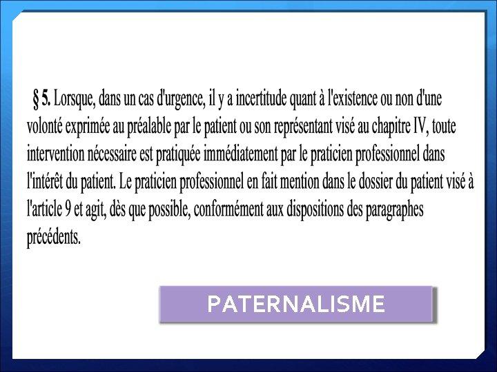PATERNALISME