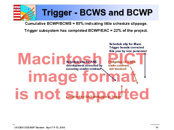 Trigger - BCWS and BCWP Cumulative BCWP/BCWS = 85% indicating little schedule slippage. Trigger