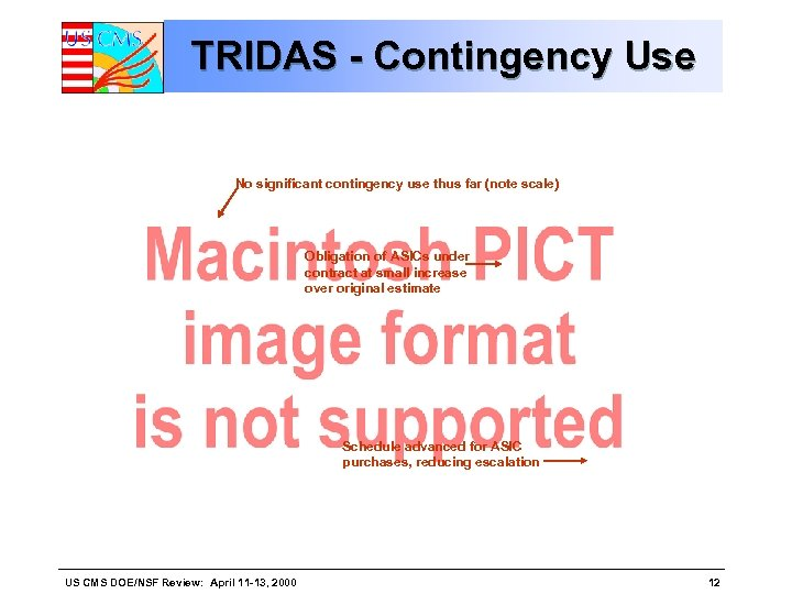 TRIDAS - Contingency Use No significant contingency use thus far (note scale) Obligation of