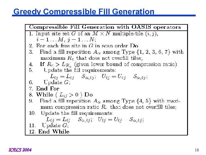Greedy Compressible Fill Generation ICECS 2004 10