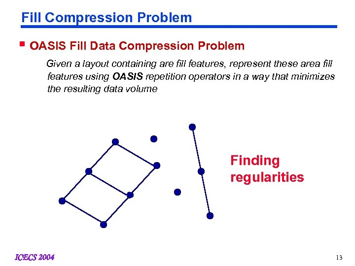 Fill Compression Problem § OASIS Fill Data Compression Problem Given a layout containing are