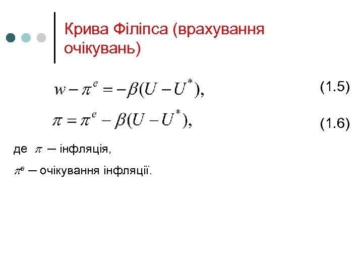 Крива Філіпса (врахування очікувань) (1. 5) (1. 6) де ─ інфляція, e ─ очікування