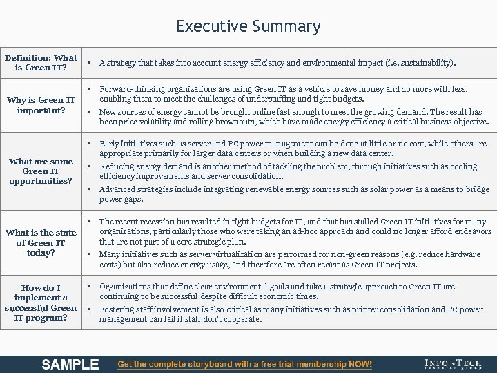 Executive Summary Definition: What is Green IT? How do I implement a successful Green