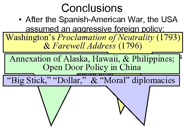 Conclusions • After the Spanish-American War, the USA assumed an aggressive foreign policy: Washington's