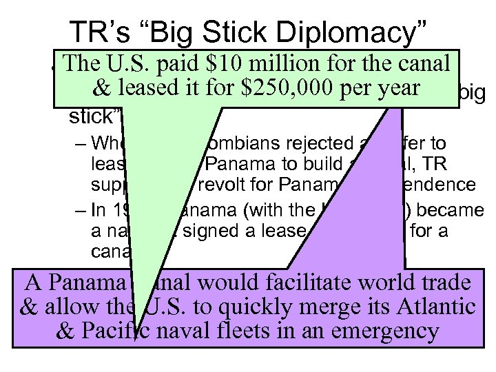 """TR's """"Big Stick Diplomacy"""" • The U. S. paid $10 million for the canal"""
