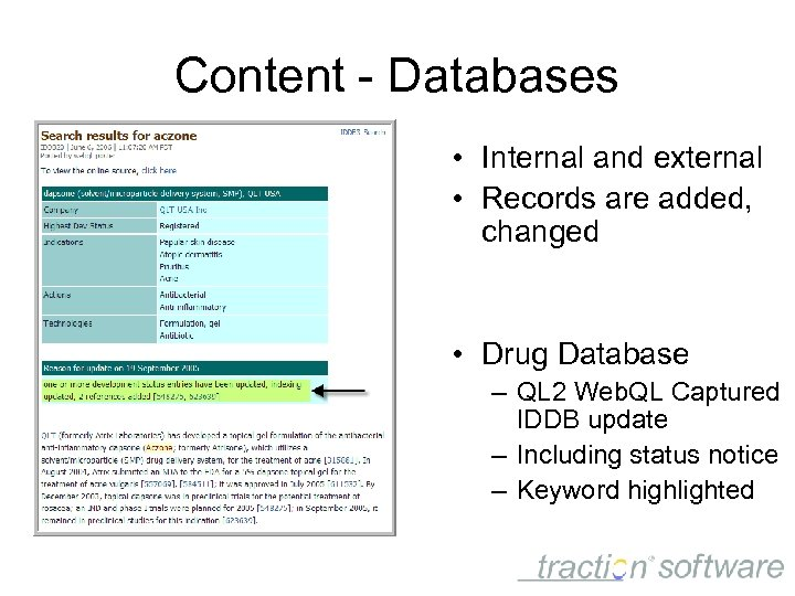 Content - Databases • Internal and external • Records are added, changed • Drug
