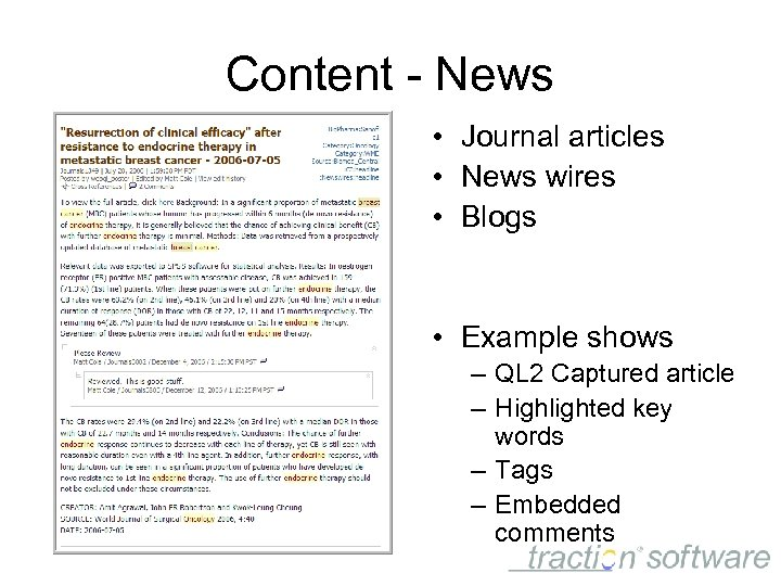 Content - News • Journal articles • News wires • Blogs • Example shows