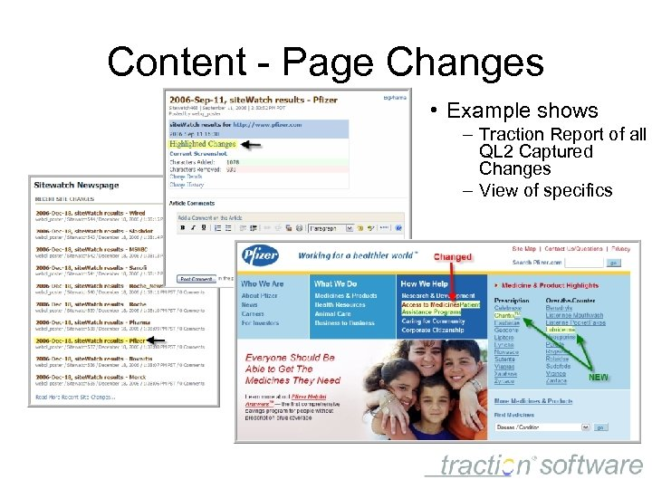 Content - Page Changes • Example shows – Traction Report of all QL 2