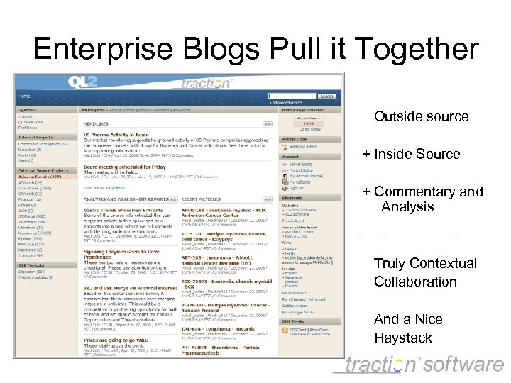 Enterprise Blogs Pull it Together Outside source + Inside Source + Commentary and Analysis