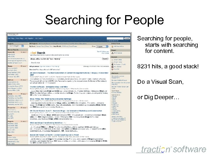 Searching for People Searching for people, starts with searching for content. 8231 hits, a