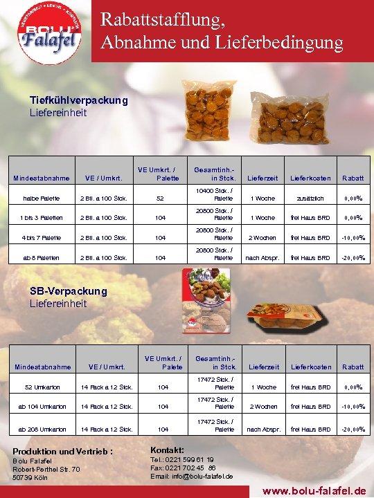Rabattstafflung, Abnahme und Lieferbedingung Tiefkühlverpackung Liefereinheit Mindestabnahme VE / Umkrt. VE Umkrt. / Palette