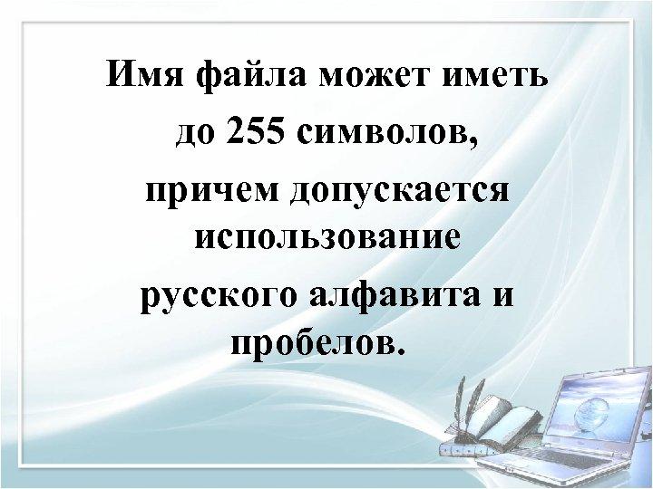 Имя файла может иметь до 255 символов, причем допускается использование русского алфавита и пробелов.