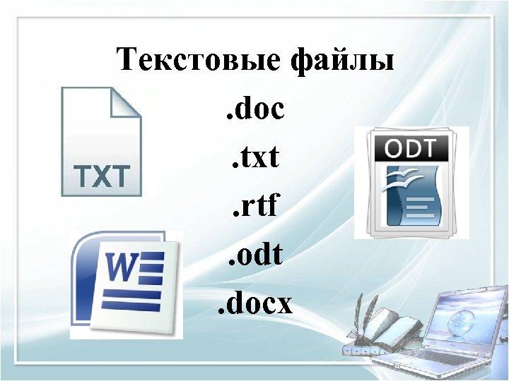 Текстовые файлы. doc. txt. rtf. odt. docx
