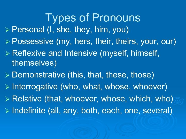 Types of Pronouns Ø Personal (I, she, they, him, you) Ø Possessive (my, hers,