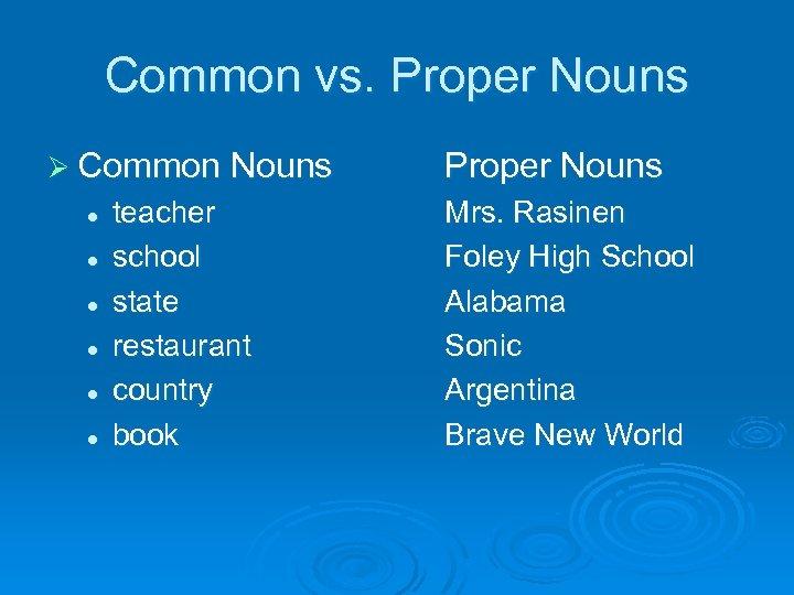 Common vs. Proper Nouns Ø Common Nouns l l l teacher school state restaurant