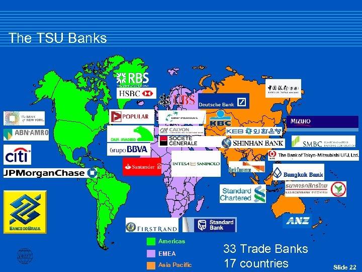 The TSU Banks Americas EMEA Asia Pacific 33 Trade Banks 17 countries Slide 22
