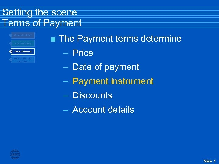 Setting the scene Terms of Payment 1 Goods description 2 Terms of Delivery 3
