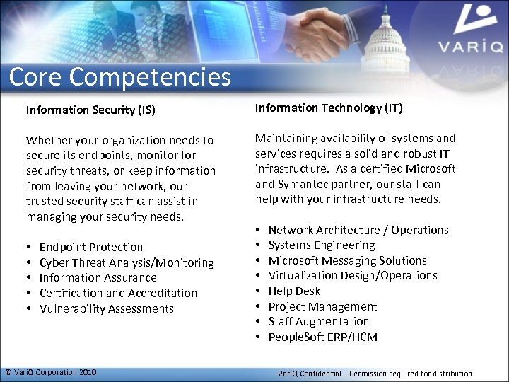Core Competencies Information Security (IS) Information Technology (IT) Whether your organization needs to secure