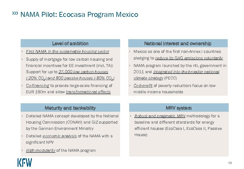 NAMA Pilot: Ecocasa Program Mexico Level of ambition › First NAMA in the sustainable