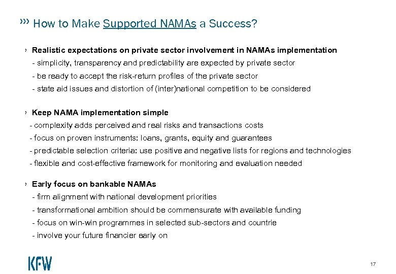 How to Make Supported NAMAs a Success? › Realistic expectations on private sector involvement