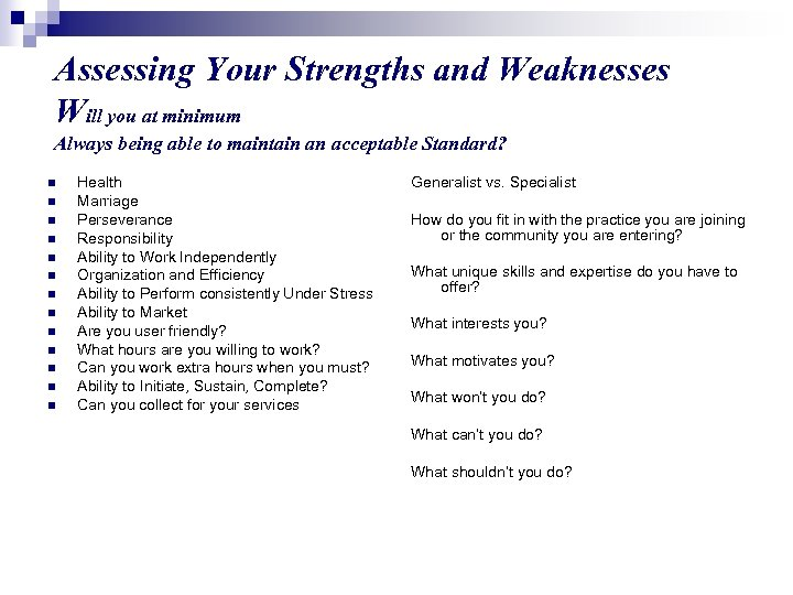 Assessing Your Strengths and Weaknesses Will you at minimum Always being able to maintain