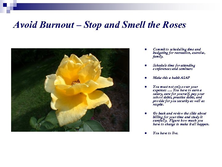 Avoid Burnout – Stop and Smell the Roses n Commit to scheduling time and