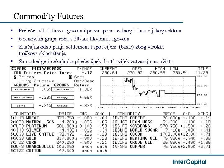 Commodity Futures § § Preteče svih futures ugovora i prava spona realnog i financijskog