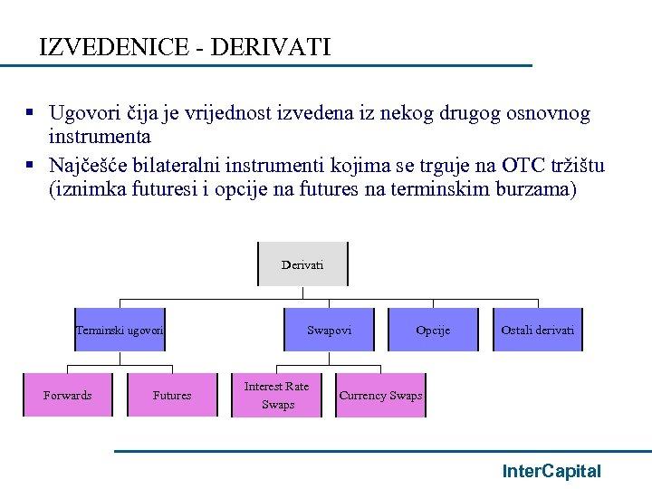 IZVEDENICE - DERIVATI § Ugovori čija je vrijednost izvedena iz nekog drugog osnovnog instrumenta