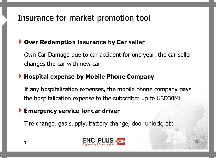 ONSCREEN 4 Insurance for market promotion tool 4 Over Redemption insurance by Car seller