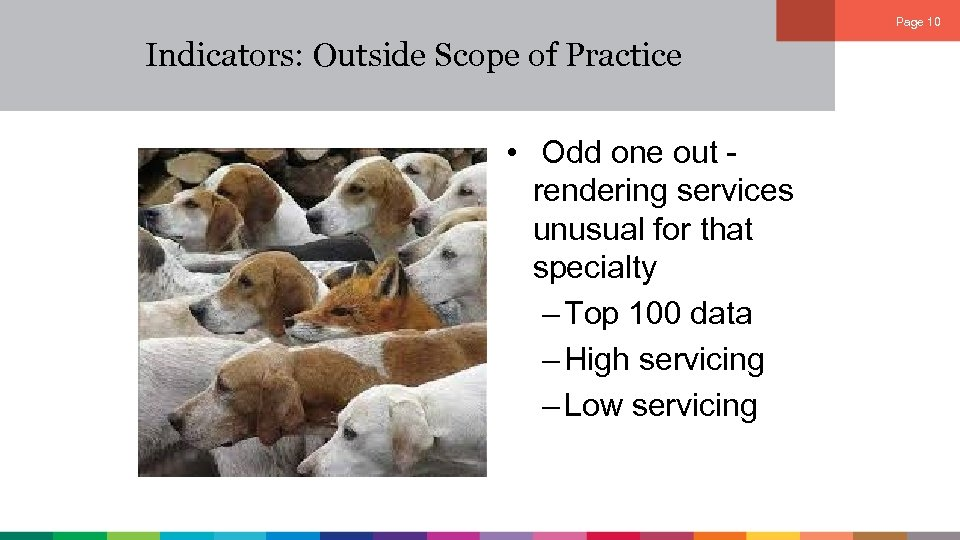 Page 10 Indicators: Outside Scope of Practice • Odd one out rendering services unusual