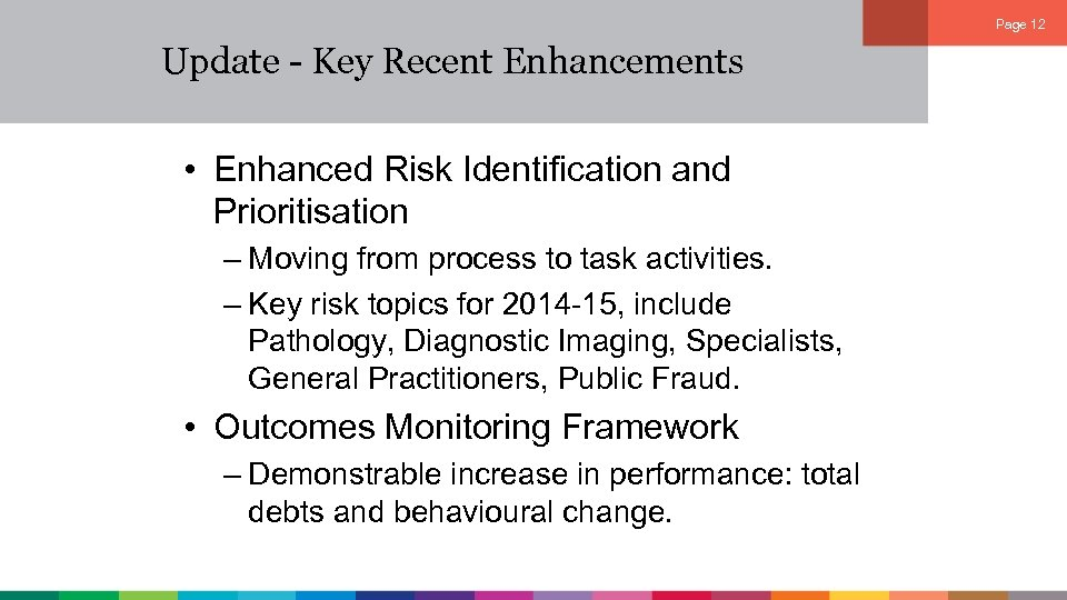 Page 12 Update - Key Recent Enhancements • Enhanced Risk Identification and Prioritisation –