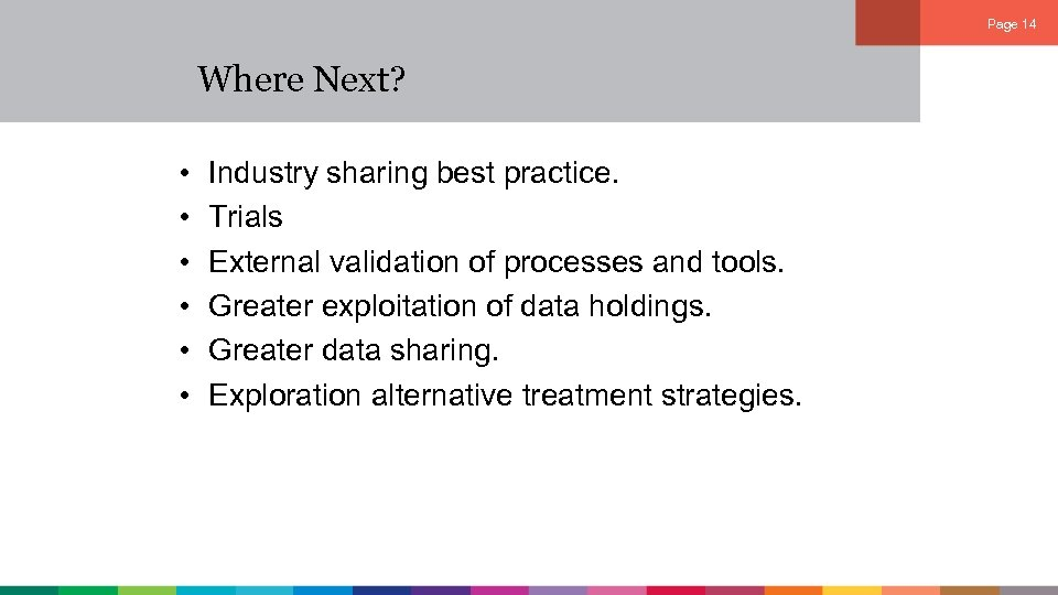 Page 14 Where Next? • • • Industry sharing best practice. Trials External validation