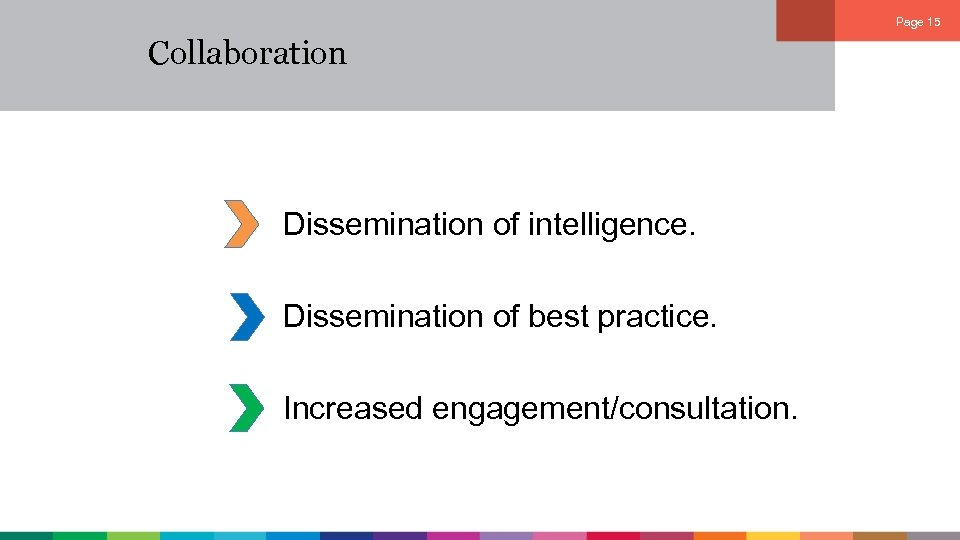 Page 15 Collaboration Dissemination of intelligence. Dissemination of best practice. Increased engagement/consultation.