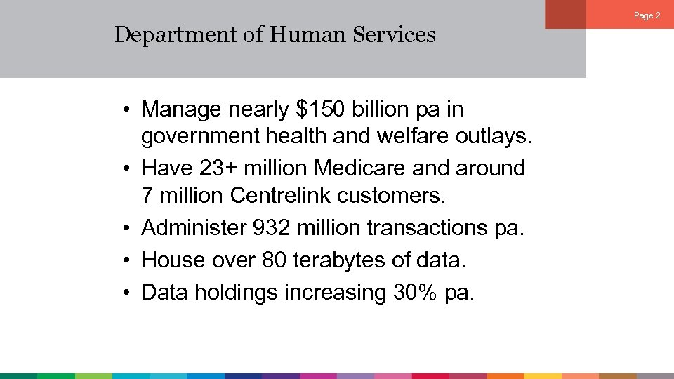 Page 2 Department of Human Services • Manage nearly $150 billion pa in government