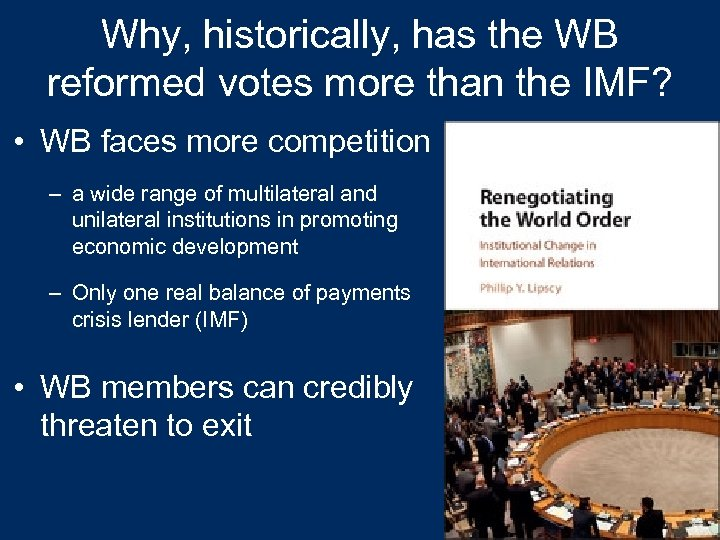 Why, historically, has the WB reformed votes more than the IMF? • WB faces