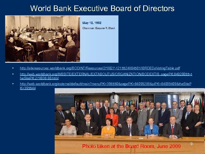 World Bank Executive Board of Directors • http: //siteresources. worldbank. org/BODINT/Resources/278027 -1215524804501/IBRDEDs. Voting. Table.