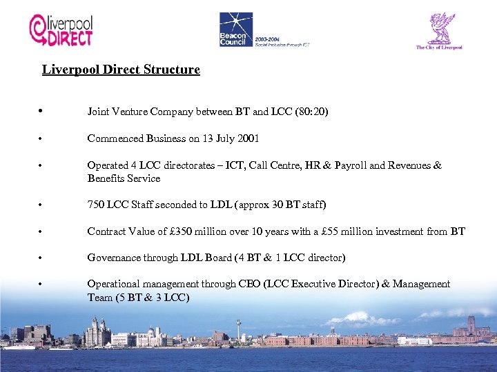 Liverpool Direct Structure • Joint Venture Company between BT and LCC (80: 20) •