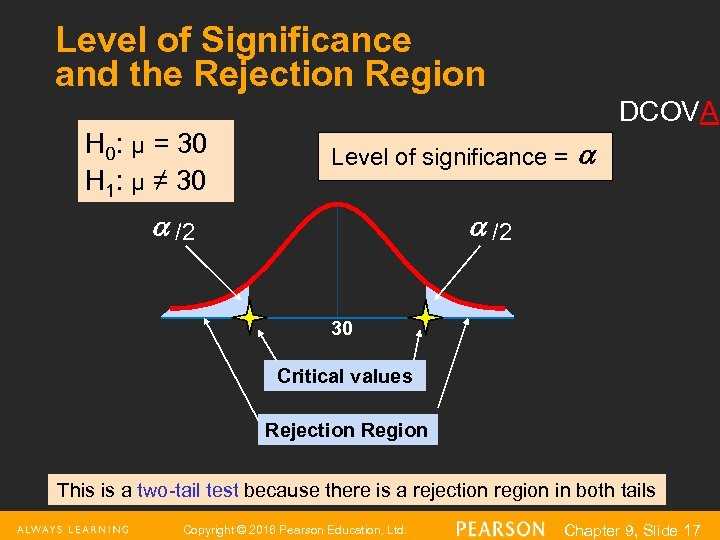 Level of Significance and the Rejection Region DCOVA H 0: μ = 30 H