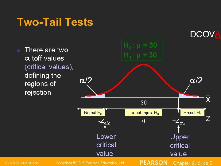 Two-Tail Tests DCOVA n There are two cutoff values (critical values), defining the regions