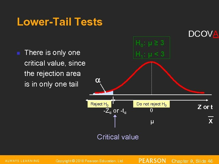 Lower-Tail Tests DCOVA H 0: μ ≥ 3 n There is only one critical