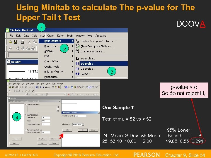Using Minitab to calculate The p-value for The Upper Tail t Test DCOVA 1