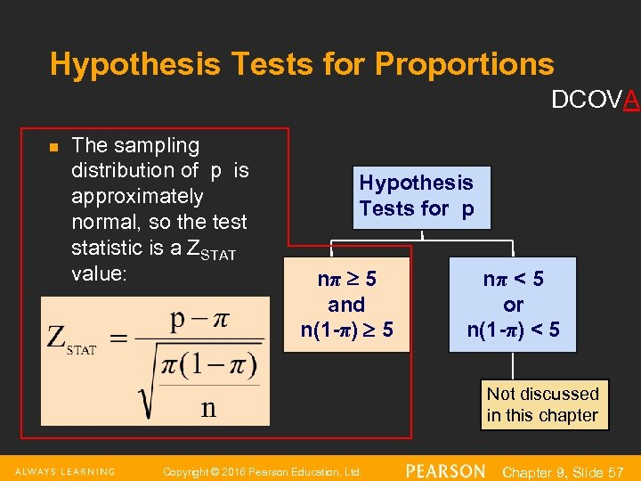 Hypothesis Tests for Proportions DCOVA n The sampling distribution of p is approximately normal,